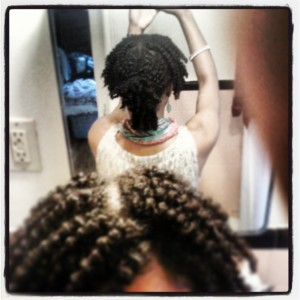once rinsed, I applied bringraj hair conditioner, rinsed that, and applied a leave-in